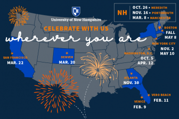 map of U.S. showing locations of UNH alumni events