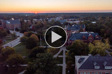 aerial view of UNH's campus at sunrise
