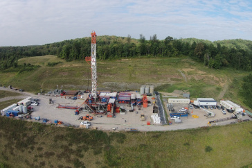 Aerial view of fracking research site