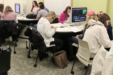 students working in media lab