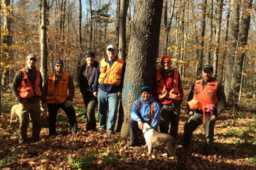 UNH alumna Wendy Weisiger with others on a harvest site walk