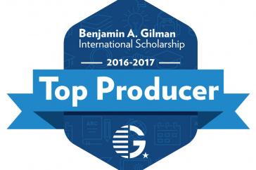 The Gilman Scholars Top Producer badge
