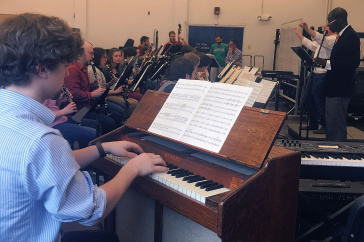 UNH wind symphony in rehearsal