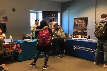 UNH students talk to study abroad counselors.