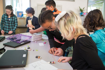 Students in the East Rochester School use LittleBits to design their own inventions
