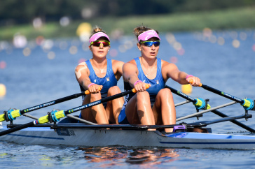 Sydney Michalak '18 and her rowing partner Ashley Johnson competing in Poland.