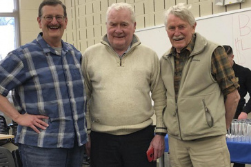 UNH associate professor Alan Baker poses with former graduate student Peter Siver and Professor Jim Haney