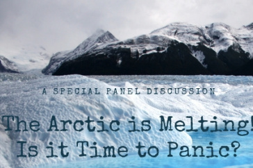 "Arctic mountains and sea with text ""the Arctic is melting. Is it time to panic?"""