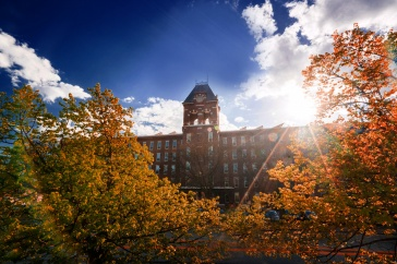University of New Hampshire at Manchester building in the fall. UNH Manchester will host Fall Open House on October 19, 2019.