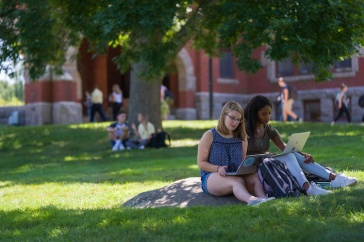 students on T Hall lawn on the first day of classes, 2019