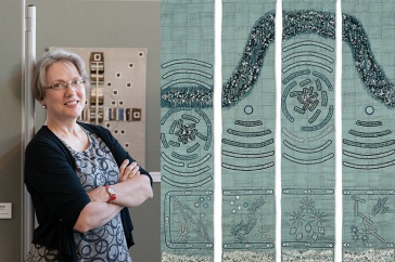 Artist Lindsay Olson next to her textile art.