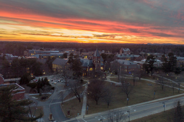 A view of the UNH campus at sunset