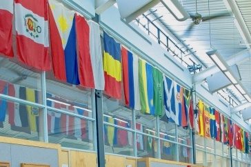 country flags that hang in the MUB