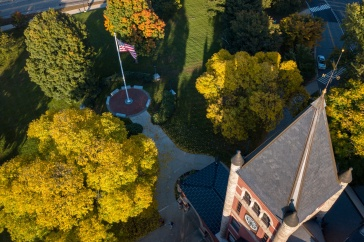 Overhead shot of Thompson Hall with fall foliage