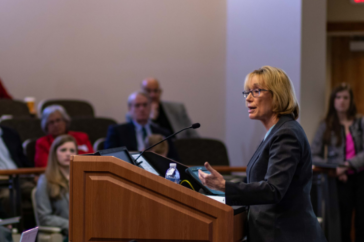 Senator Maggie Hassan at UNH's Panel on Health Care Costs