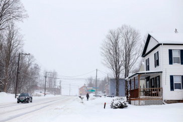 Image of snowy street in VT.