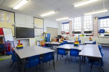 A photo showing an empty elementary school classroom, with desks and school supplies.