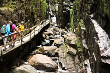 People visiting The Flume in Franconia Notch, NH.