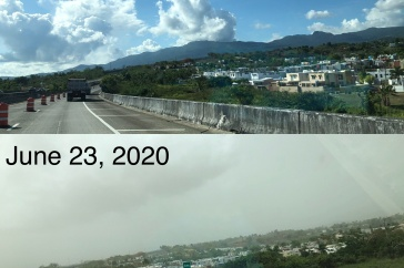 "View of Puerto Rico before and after arrival of ""Godzilla"" dust storm"