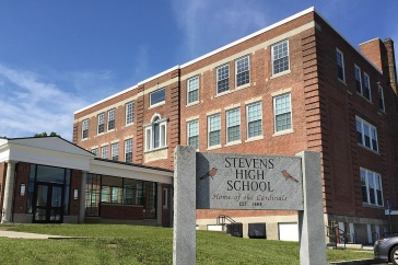 A photo of the Stevens High School building located in Claremont, New Hampshire.
