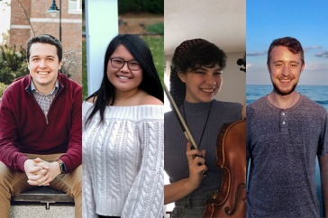 photo montage of four students