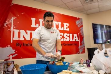 Student working in kitchen