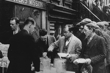 New York City: in the absence of substantial government relief programs during 1932, free food was distributed with private funds in some urban centers to large numbers of the unemployed. National Archives.