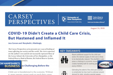 A graphic showing the research brief published by Carsey School and researcher Jess Carson