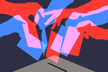 Image of hands placing votes in a ballot box