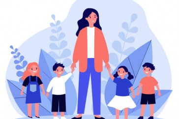 Graphic of adult and children holding hands