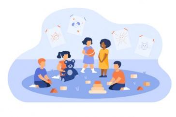 Image of children at daycare illustration
