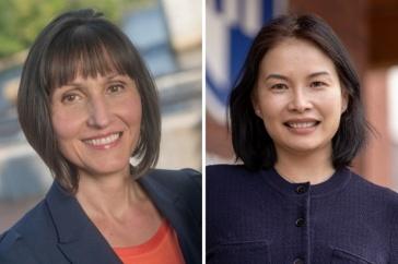 Computer science faculty Mihaela Sabin and Karen Jin