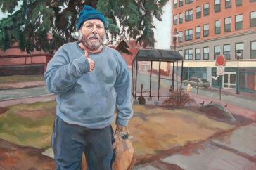 painting of man with thumbs up