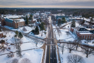 aerial view of campus in the snow