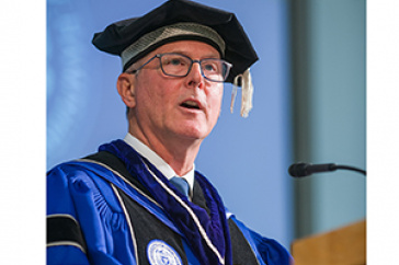 """James W. (""""Jim"""") Dean, Jr. installed as the 20th president of the University of New Hampshire Friday, Oct. 12, 2018."""