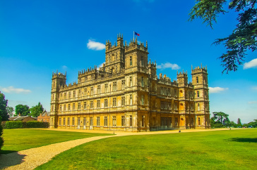 Highclere Castle, the setting for Downton Abbey. Stock Photo.