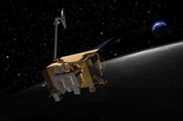 Artist's rendition of the Lunar Reconnaissance Orbiter at the moon.