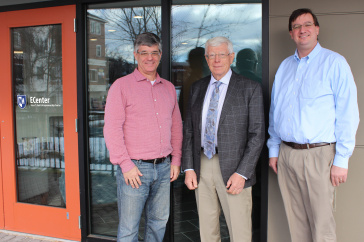 From left to right: Ian Grant, director of the ECenter at UNH; entrepreneur and philanthropist Peter Paul '67; and Marc Sedam, associate vice provost of innovation and new ventures at UNH