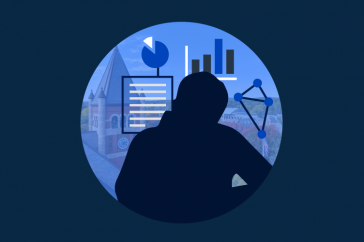 graphic of the silhouette of a researcher and UNH's Thompson Hall