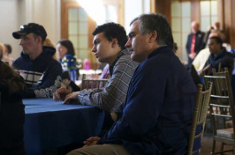 students and alums of Talent Search listen to speakers