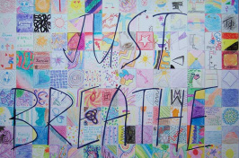 """Mosaic created in UNH class called """"Stressed Out"""""""