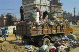 picking through trash in Nepal