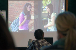 students watching anti-bullying video