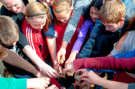 students drop stones into water as part of bullying prevention education