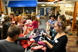 Students in the MUB at popup thrift store