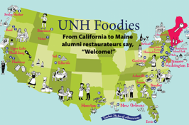 map drawing of america with alumni restaurateurs coast to coast