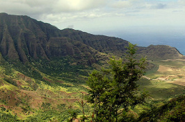Hawaiin mountains and ocean