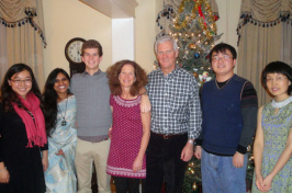 mark huddleston, his family, and students at thanksgiving