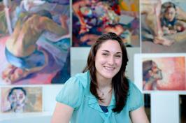 jennifer lamontagne with her artwork