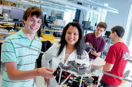 Josh Chabot '13 and his adviser, Associate Professor of Mechanical Engineering May-Win Thein